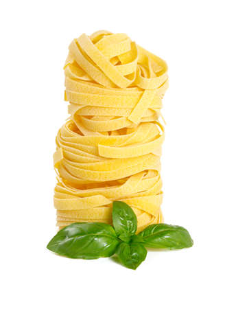 eating noodles: italian pasta tagliatelle isolated on white