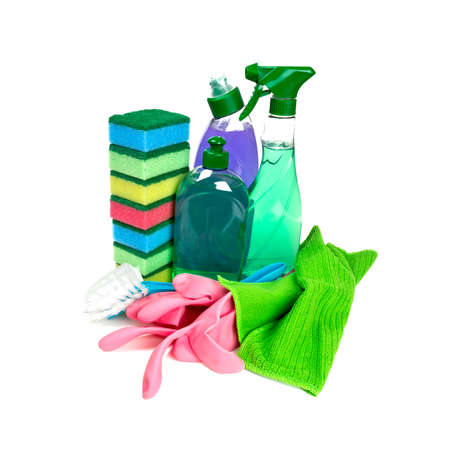 bright housekeeping: colorful cleaning set isolated on white