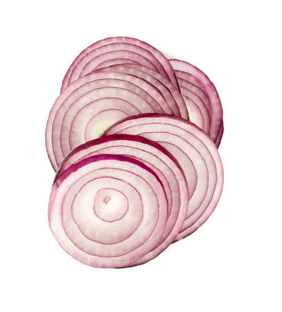 onion rings: red onion isolated on white background