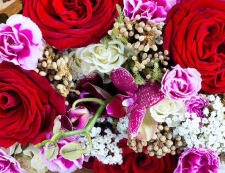 orchidea: beautiful rose, orchidea and carnation bouquet