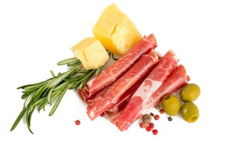 jamon: Coppa di Parma jam�n, queso parmesano y aceitunas Foto de archivo