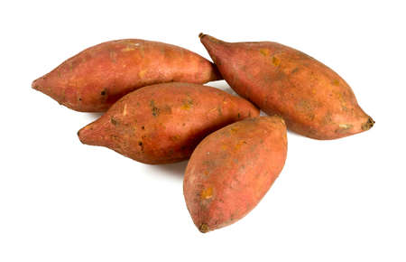 sweet potatoes isolated on white Archivio Fotografico