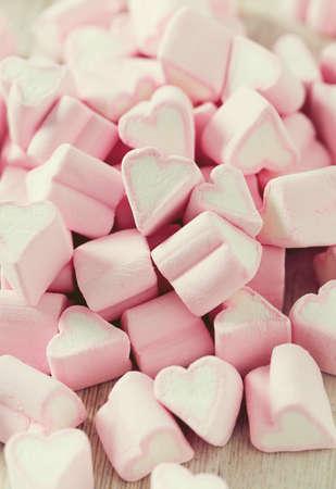 heartshaped: heart-shaped marshmallows Stock Photo