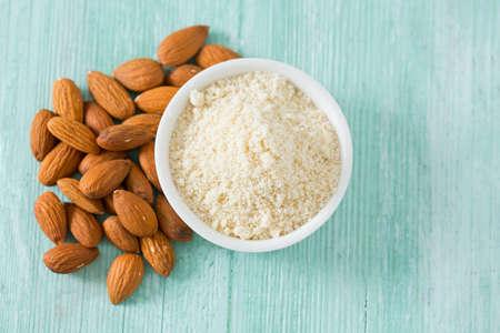 flour: almond flour on wooden surface