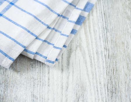 blue white kitchen: blue kitchen towel on white background Stock Photo