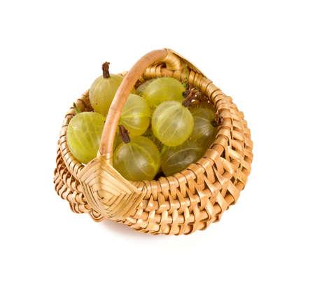 gooseberries: gooseberries in a basket over white