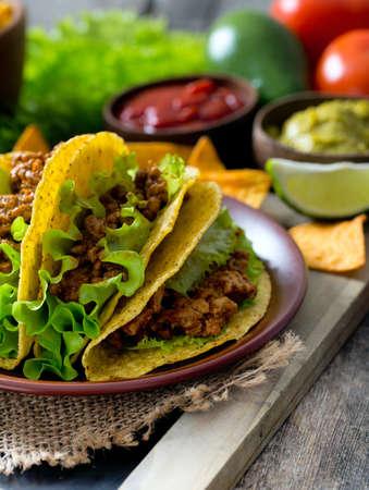 tortilla de maiz: plate of tacos, nachos and tomato dip Foto de archivo