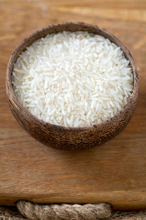 grained: basmati rice in a bowl Stock Photo