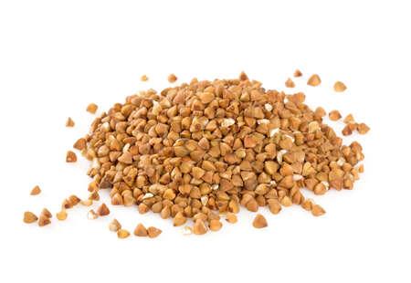 groats: buckwheat groats isolated on white Stock Photo