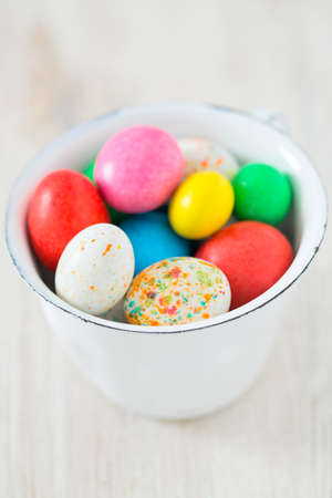 Easter candy eggs isolated on white background Stock Photo