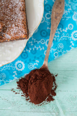 cocoa powder: cocoa powder and brownies on background