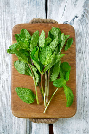 peppermint on cutting board