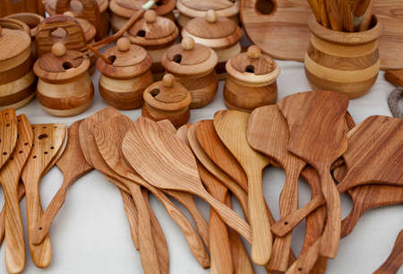 cheapness: wooden spoons on market