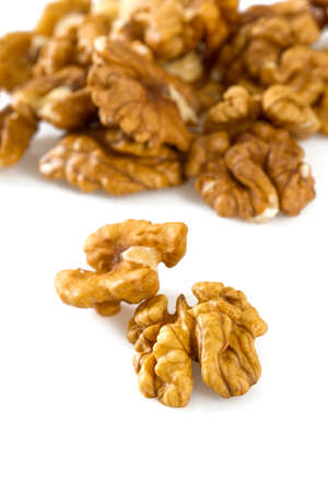 nutshells: walnuts isolated on white background Stock Photo