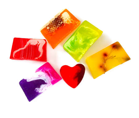 heartshaped: colorful home made soap bars Stock Photo