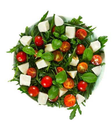 Vegetarian salad with cherry tomato, mozzarella and rucola Stock Photo