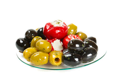 assortment of marinated olives isolated on white Stock Photo