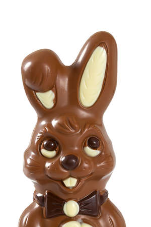 eastertime: chocolate bunny isolated on white