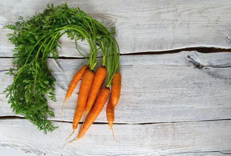 fresh carrots on wooden surface Stock Photo