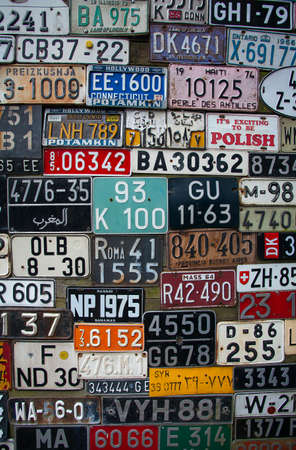 License Plates from Around the world on Display Stockfoto