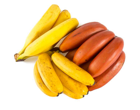 assorted bananas on white background Stok Fotoğraf - 86412751