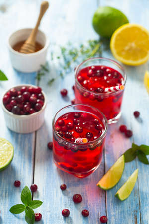 cranberry drink on wooden surface Stock Photo