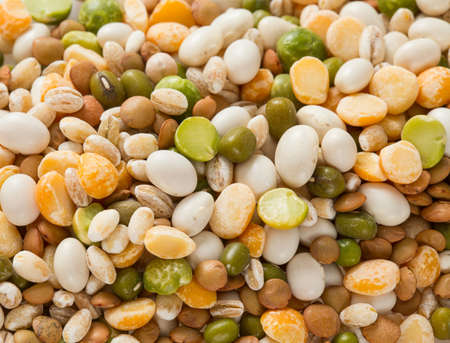 haricot: italian minestrone soup mixture isolated on white Stock Photo