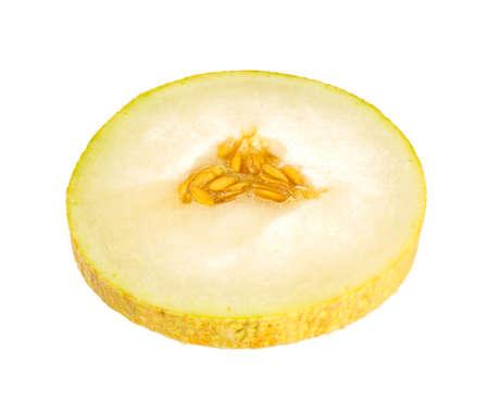 Cantaloupe: slice of sweet melon isolated on white Stock Photo