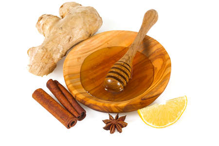 honey and spices isolated on white Stock Photo