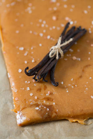cooking of salted caramel candies Stock Photo