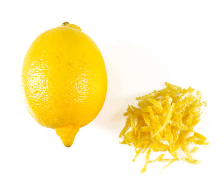 lemon zest isolated on white background