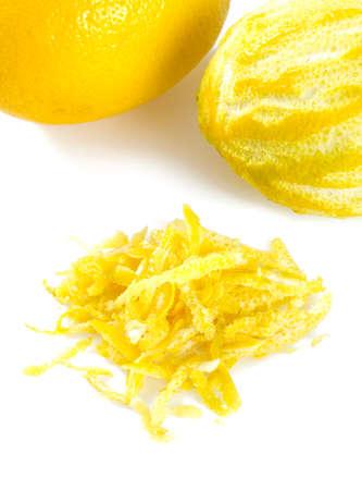 lemon zest isolated on white background
