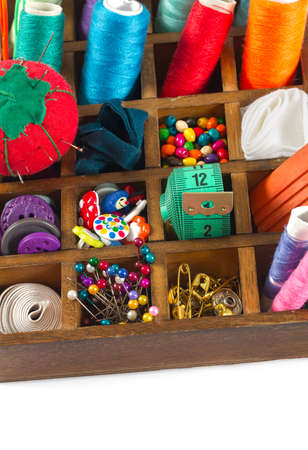 colorful sewing accessories 写真素材