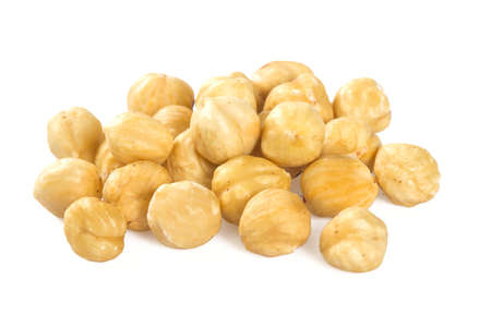 roasted hazelnuts isolated on white Stock Photo
