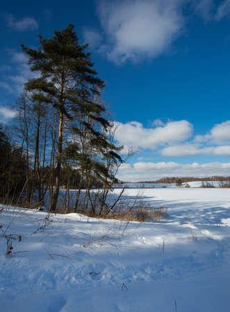 snowy winter lake
