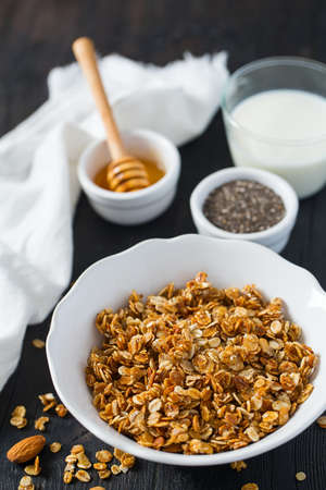 home made granola on wooden surface surface