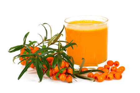 sea buckthorn tea isolated on white Фото со стока