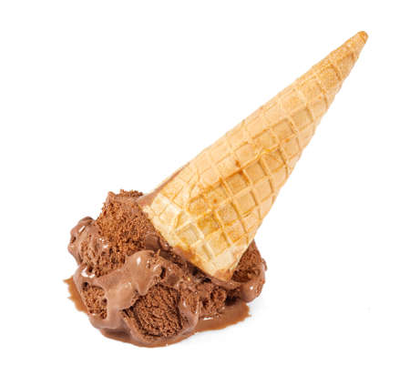 Fallen chocolate ice cream isolated on white