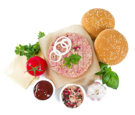 Fresh raw burger patty isolated on white Stock fotó