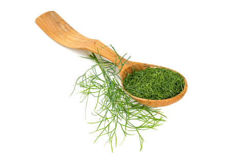 Dried dill in a wooden spoon isolated