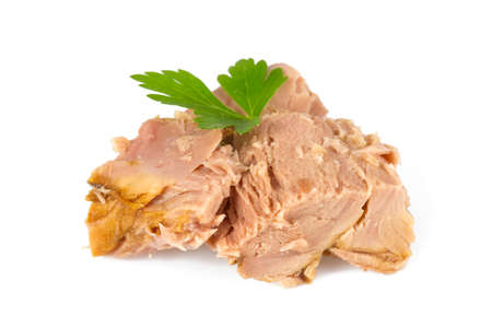 canned tuna fish isoalted on  white