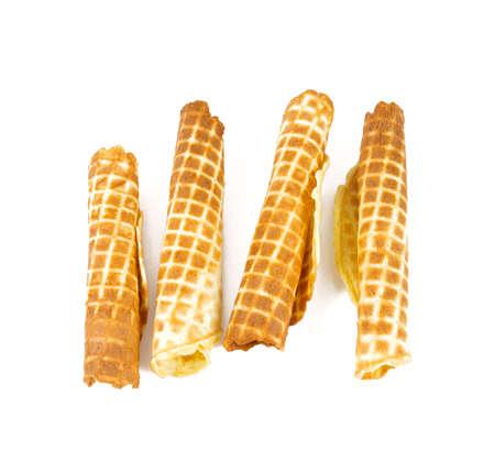 tube waffle isolated on white