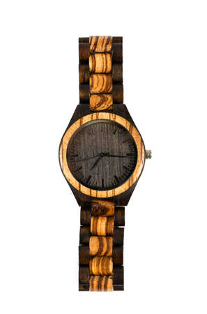 wooden wrist watch isolated on white Stock Photo