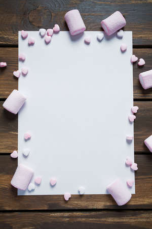 frame made of sweet marshmallow and candies Standard-Bild
