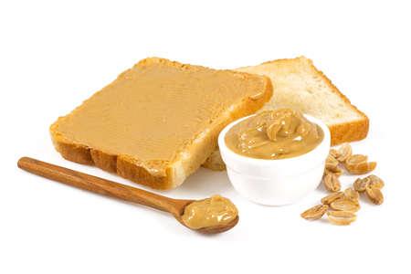 Erdnussbutter isoliert auf weiß Standard-Bild