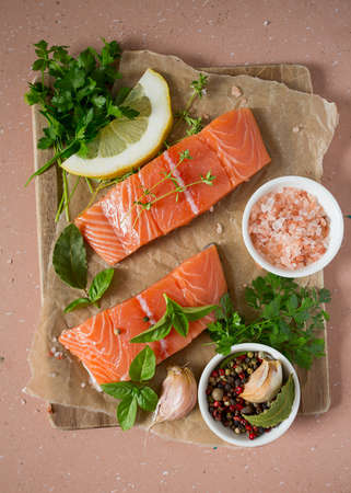 salmon on rustic metallic surface Banque d'images - 117561341