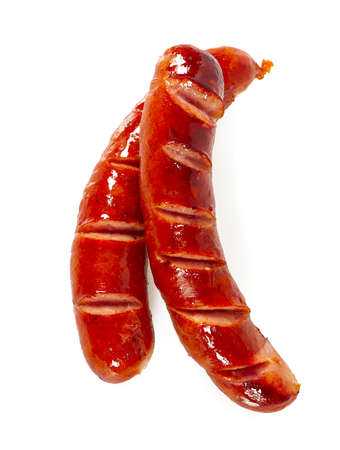 Grilled sausages isolated on a white Banque d'images