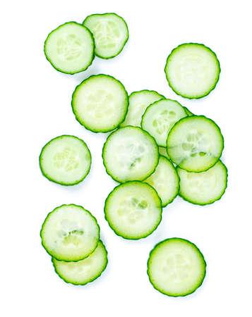 cut cucumbers isolated on white Standard-Bild - 124532074