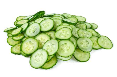 cut cucumbers isolated on white Standard-Bild - 124532081