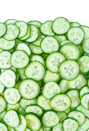 cut cucumbers isolated on white Standard-Bild - 124532083